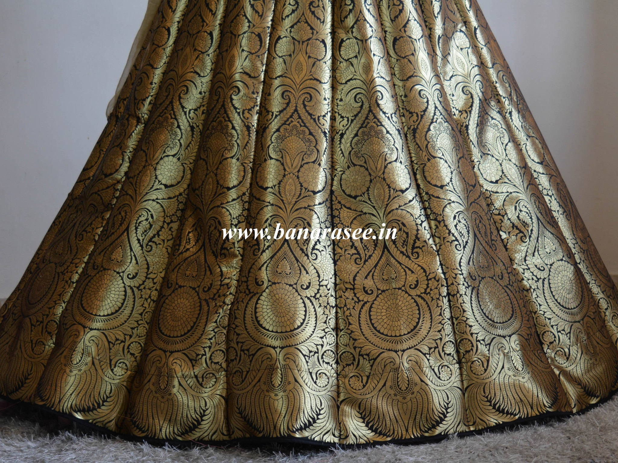 Banarasee/Banarasi Handwoven Art Silk Unstitched Lehenga & Blouse Fabric-Black