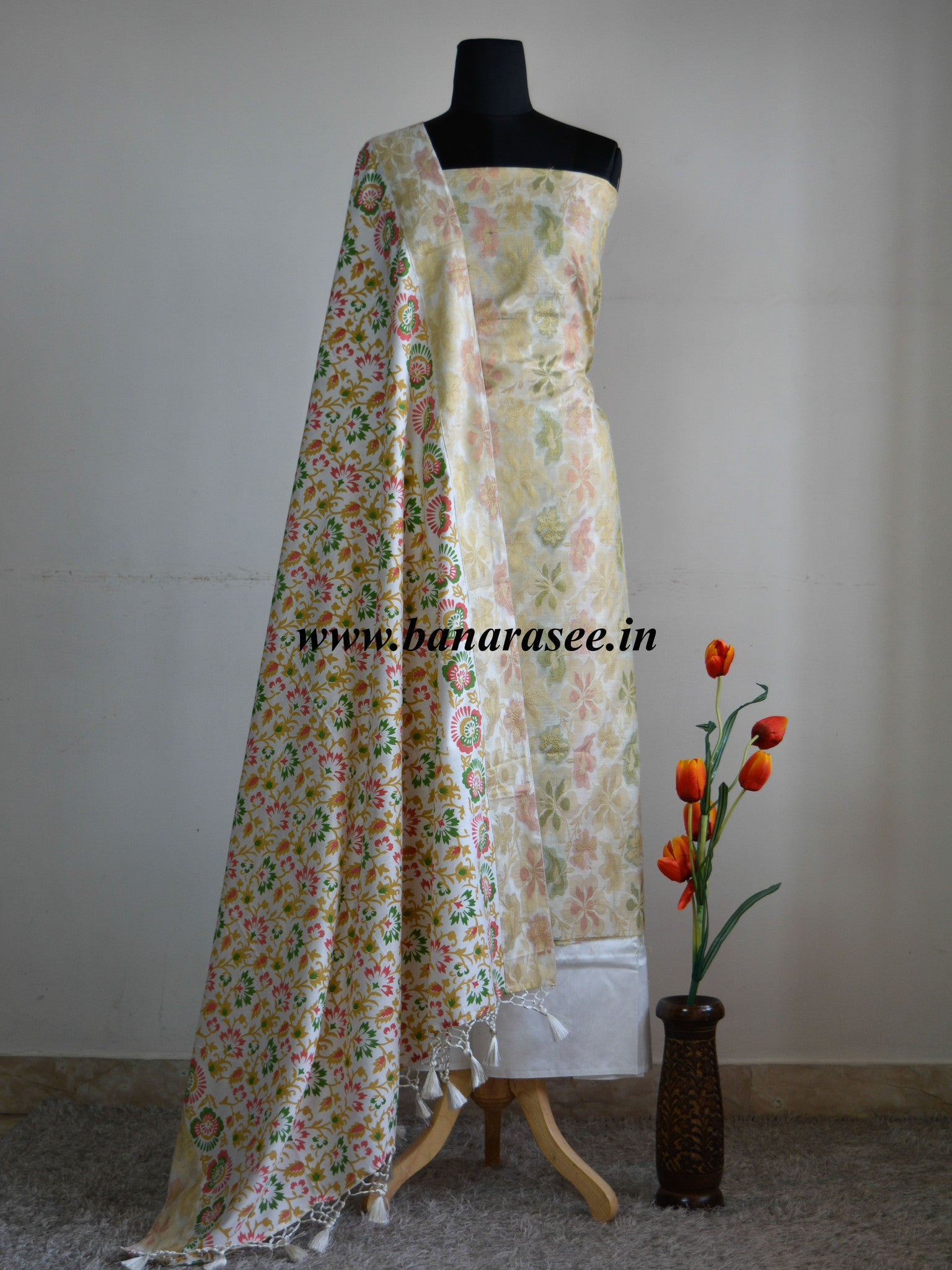 Banarasee Salwar Kameez Cotton Silk Resham & Zari Woven Fabric With Block Printed Dupatta-Off White