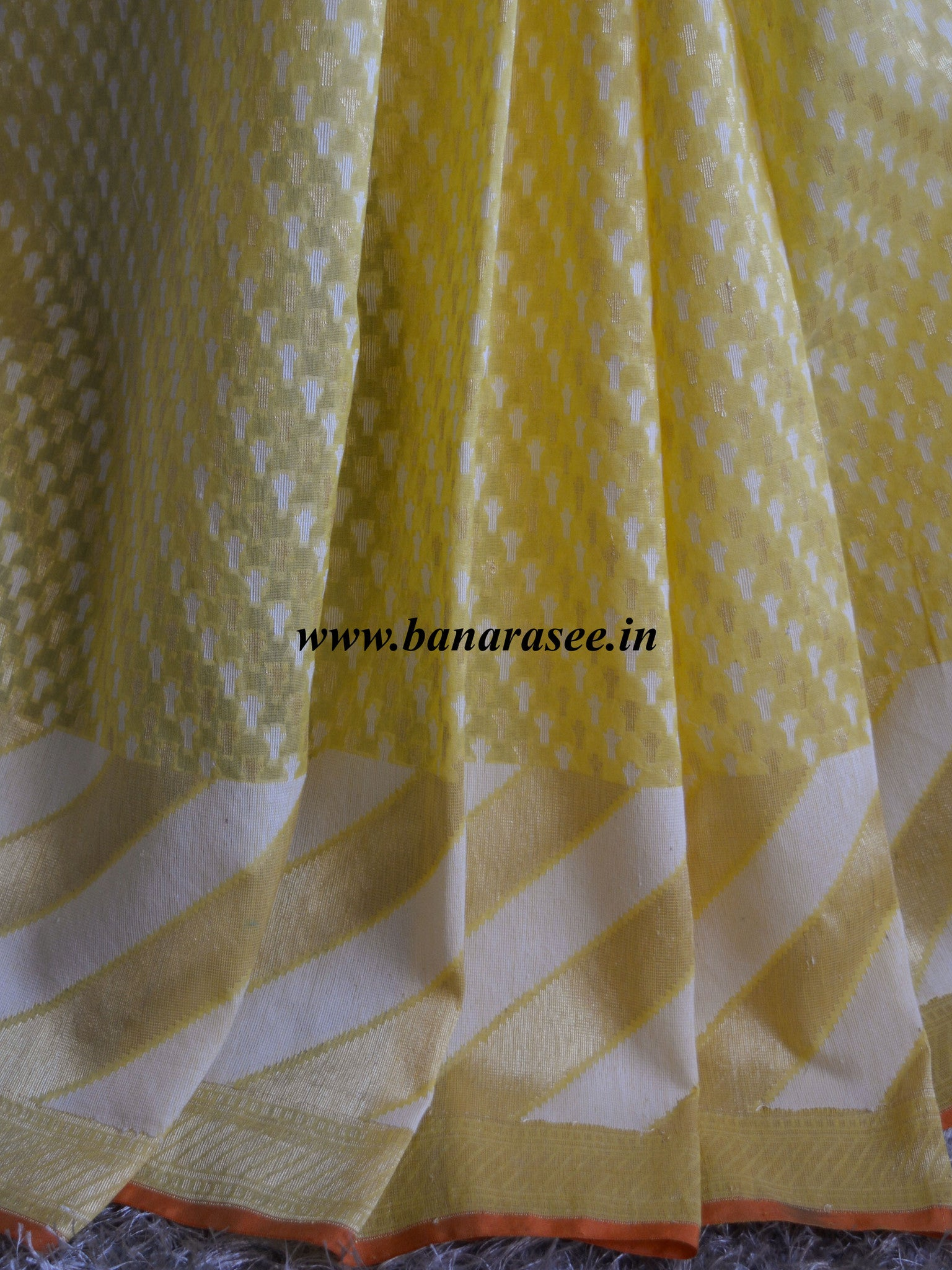 Banarasee/Banarasi Pure Handloom Cotton Silk Jamdani Sari With Zari Weaving-Lemon Yellow
