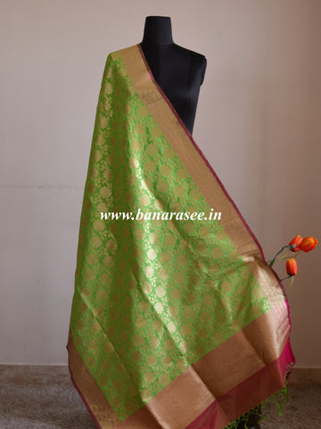Banarasi Art Silk Dupatta Floral Jaal Design-Lime Green
