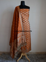 Banarasee/Banarasi Salwar Kameez Cotton Silk Resham Woven Fabric-Rust