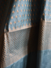Banarasee/Banarasi Salwar Kameez Cotton Silk Antique Gold Zari Buti Woven Fabric-Grey