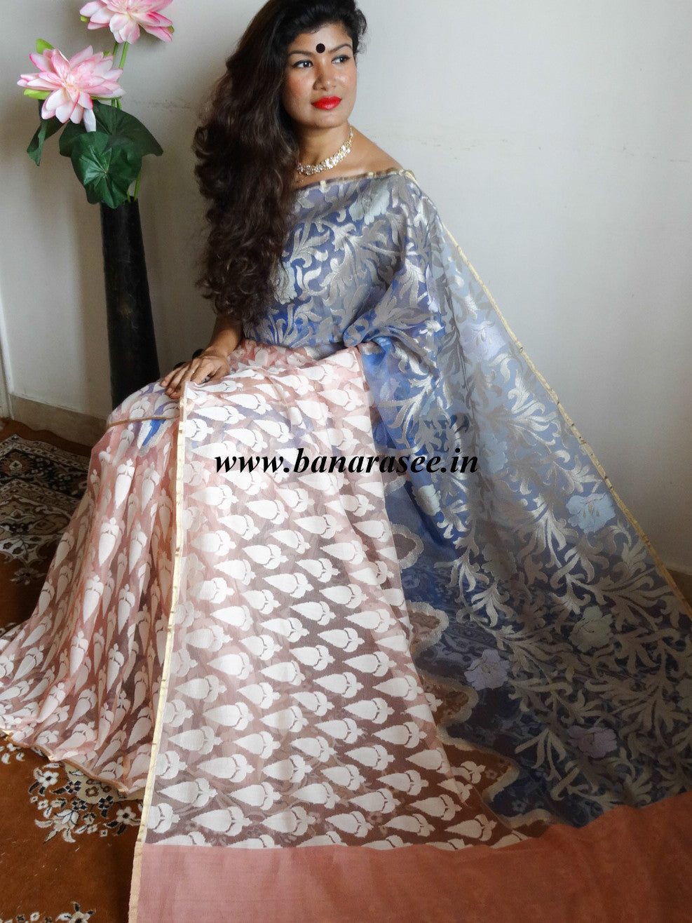 Banarasee/Banarasee Pure Net & Linen Handloom Saree in Half & Half Design-Pink & Blue