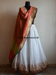 Banarasee/Banarasi Ready Stitched Cotton Silk Lehenga & Dupatta-White