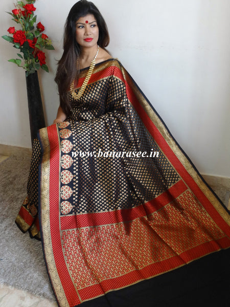 Banarasee Handwoven Faux Georgette Upadda Saree With Small Zari Buti and Floral Border-Black