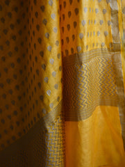 Banarasee/Banarasi Salwar Kameez Cotton Silk Antique Gold Zari Buti Woven Fabric-Yellow