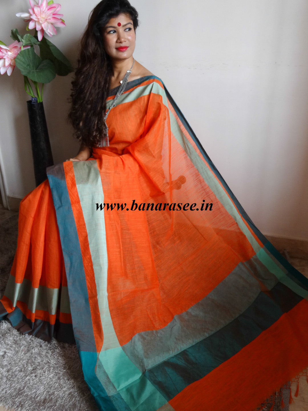 Banarasee Cotton Blend Saree With Contrast Border-Orange
