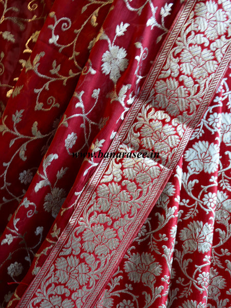 Banarasee/Banarasi Handwoven Brocade Unstitched Lehenga Fabric with Chiffon Dupatta-Deep Red