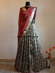 Banarasee Handwoven Brocade Unstitched Dual Shade Lehenga Fabric with Chiffon Dupatta-Green & Red