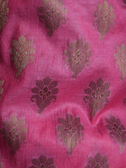 Banarasee/Banarasi Salwar Kameez Cotton Silk Antique Gold Zari Buti Woven Fabric-Pink
