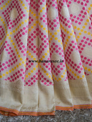 Banarasee/Banarasi Pure Handloom Cotton Silk Jamdani Patola Sari With Zari Weaving-Off White