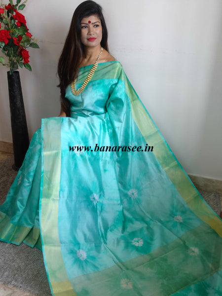 Banarasee/Banarasi Handloom Pure Dupion Silk With Shibori Dye-Sea Green