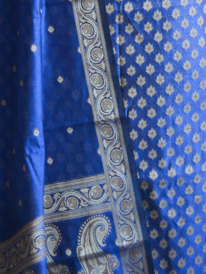 Banarasee/Banarasi Salwar Kameez Cotton Silk Resham Small Buti Woven Fabric-Royal Blue
