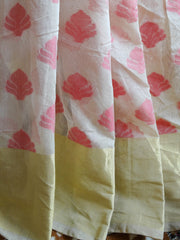Banarasee/Banarasee Silk Cotton Sari With Pink Buti-Beige
