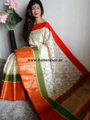 Banarasee Cotton Silk Mix Saree with Zari Work Skirt Border-Off White