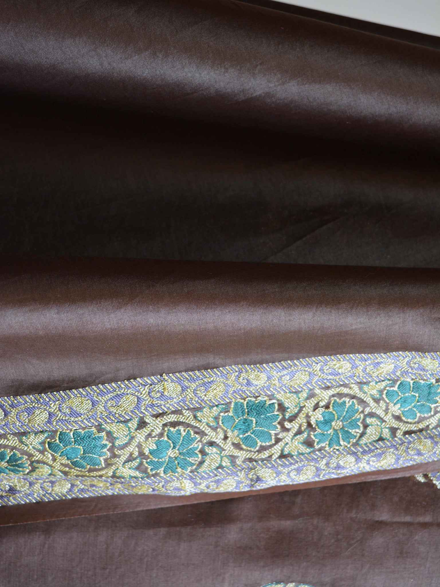 Banarasee/Banarasi Salwar Kameez Glossy Cotton Silk Woven Buti Fabric-Coffee Brown