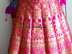 Banarasee/Banarasi Handwoven Art Silk Unstitched Lehenga & Blouse Fabric-Hot Pink