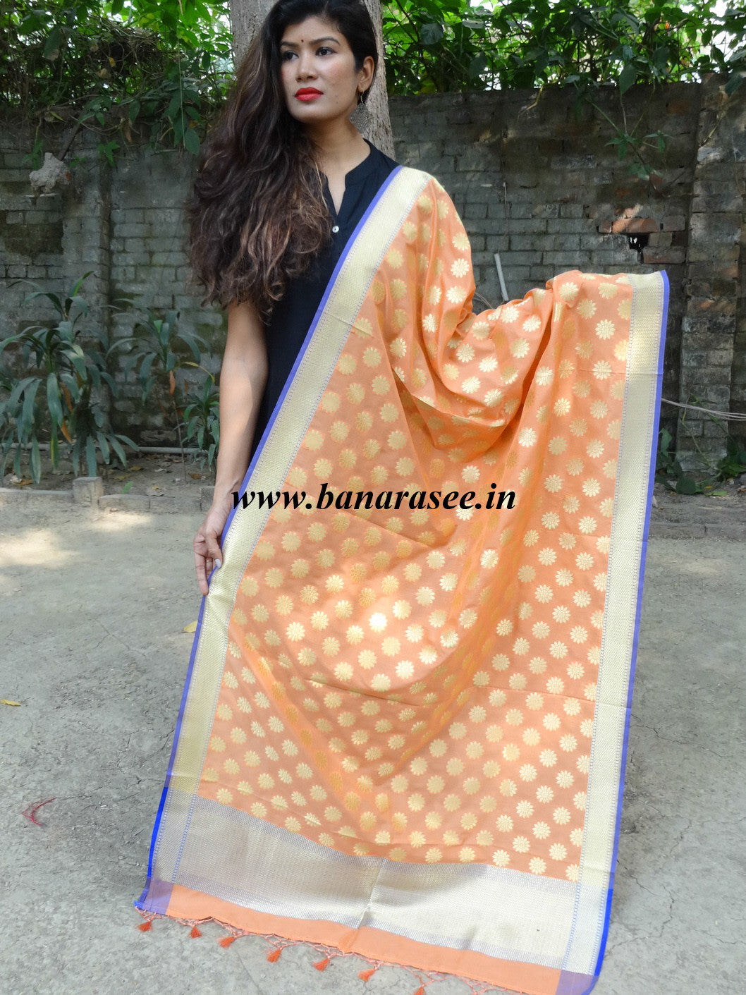 Art Silk Dupatta Small Booti-Pastel Peach