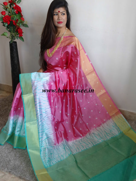 Banarasee/Banarasi Handloom Pure Dupion Silk With Shibori Dye-Rose Pink