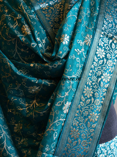 Banarasee/Banarasi Handwoven Brocade Unstitched Lehenga Fabric with Chiffon Dupatta-Teal Blue