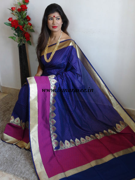 Banarasee Handwoven Faux Georgette Upadda Saree With Polka Buti and Broad Border-Deep Blue
