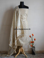 Banarasee/Banarasi Salwar Kameez Cotton Silk Resham Woven With Buti Design Fabric-Off White