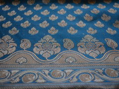 Banarasee/Banarasi Salwar Kameez Cotton Silk Resham Small Buti Woven Fabric-Blue