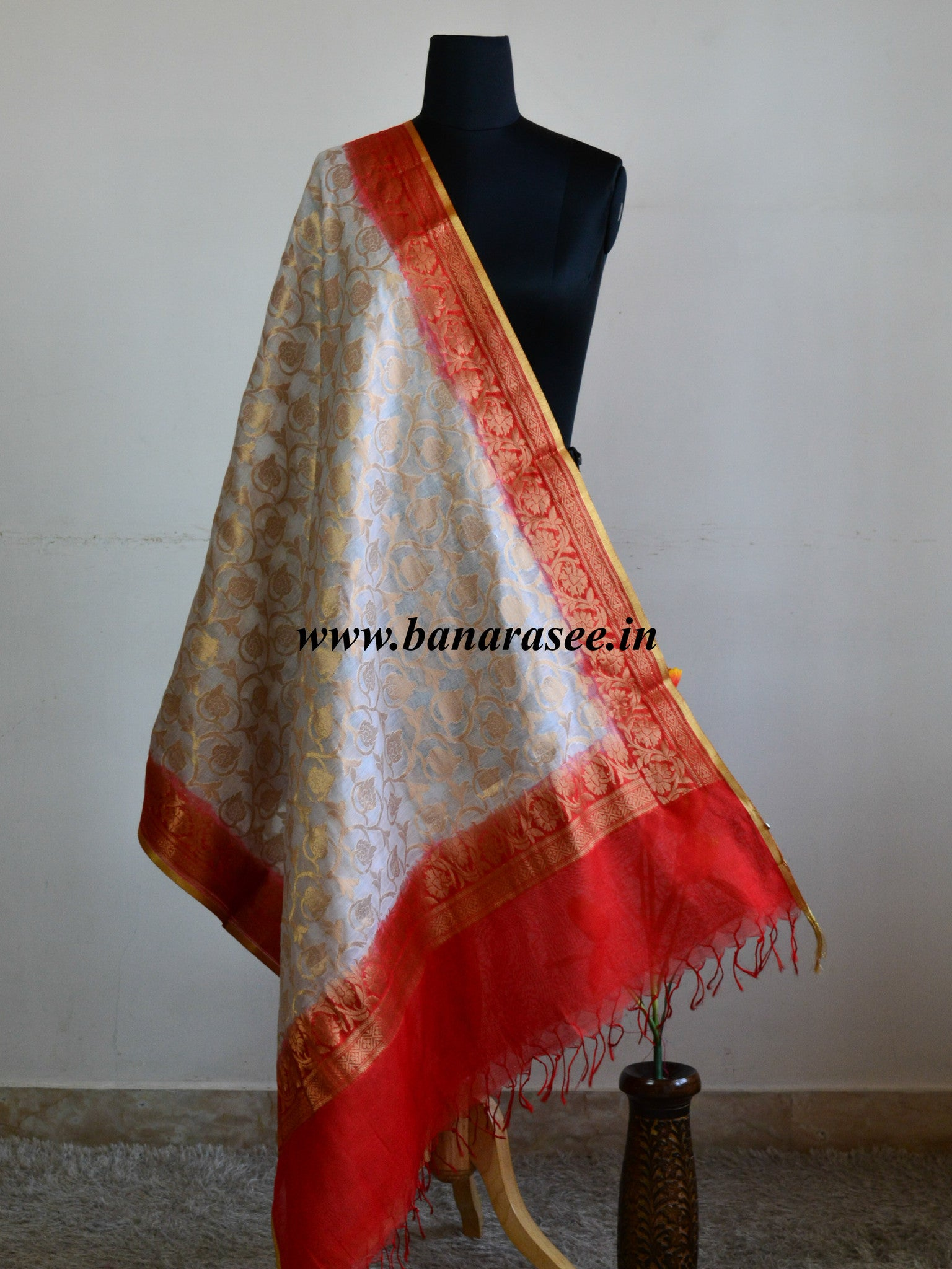 Banarasee/ Banarasi Cotton Silk Zari Jaal Dupatta With Contrast Red Border-Off white