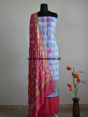 Banarasee/Banarasi Handloom Pure Chiffon Silk Salwar Kameez With Meena Woven Fabric-Multicolor