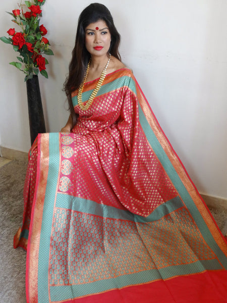 Banarasee Handwoven Faux Georgette Upadda Saree With Small Zari Buti and Floral Border-Pastel Pink