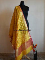 Banarasi Art Silk Dupatta Circle Buti Design-Yellow