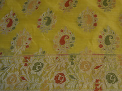Banarasee/Banarasi Salwar Kameez Cotton Silk  Woven Meena Buti Fabric-Yellow