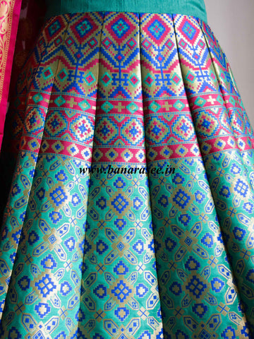 Banarasee Handwoven Art Silk Unstitched Lehenga & Blouse Fabric & Woven Meena Design-Spring Green