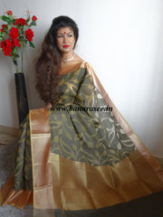 Banarasee/Banarasi Organza Mix Saree With Floral Jaal Design & Zari Border-Black