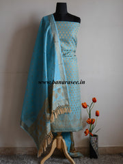 Banarasee/Banarasi Salwar Kameez Cotton Silk Resham Woven With Buti Design Fabric-Sky Blue