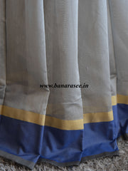 Banarasee Cotton Silk With Contrast Border-Grey