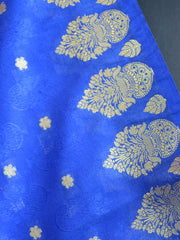 Art Silk Dupatta Vase Design on Border-Royal Blue
