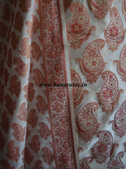 Banarasee/Banarasi Salwar Kameez Cotton Silk Red Paisley Buti Woven Fabric-Off White