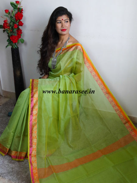 Banarasee/Banarasi Super Net Saree With Contrast Floral Woven Border-Green