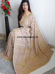 Banarasee/Banarasi Khaddi Georgette Handwoven Jamdani Sari With Heavy Resham Weaving Floral Jaal-Off White