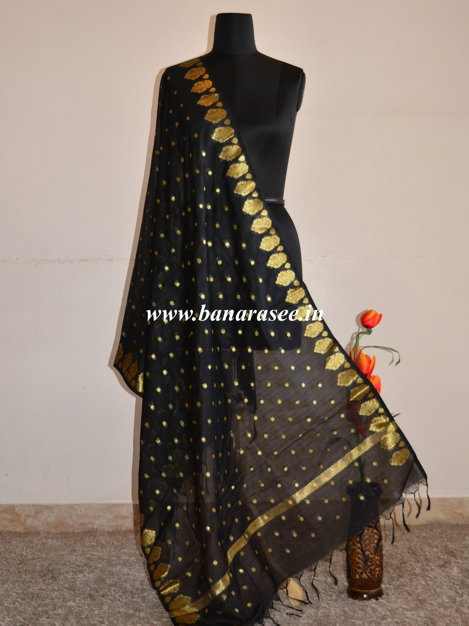 Art Silk Dupatta Vase Design on Border-Black