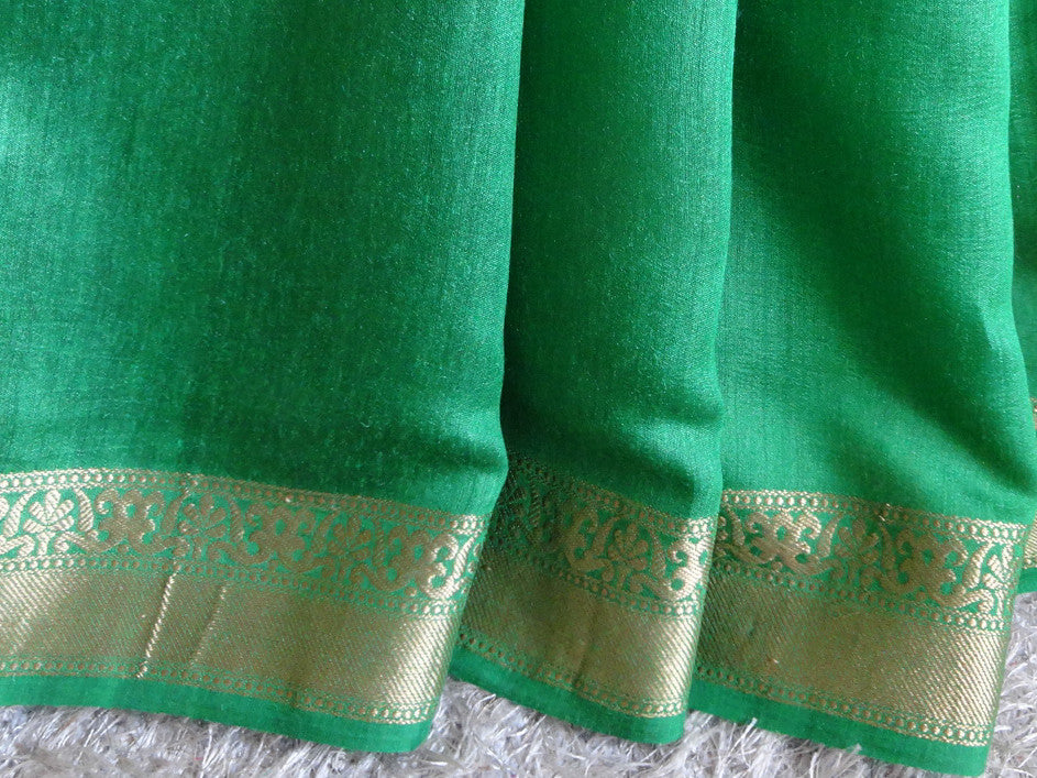 Banarasee/ Banarasi Handwoven Pure Muga Silk Sari With Floral Border-Green