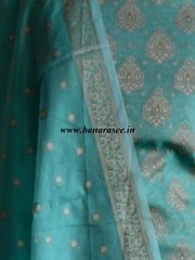 Banarasee/Banarasi Salwar Kameez Cotton Silk Resham Woven With Buti Design Fabric-Sea Green