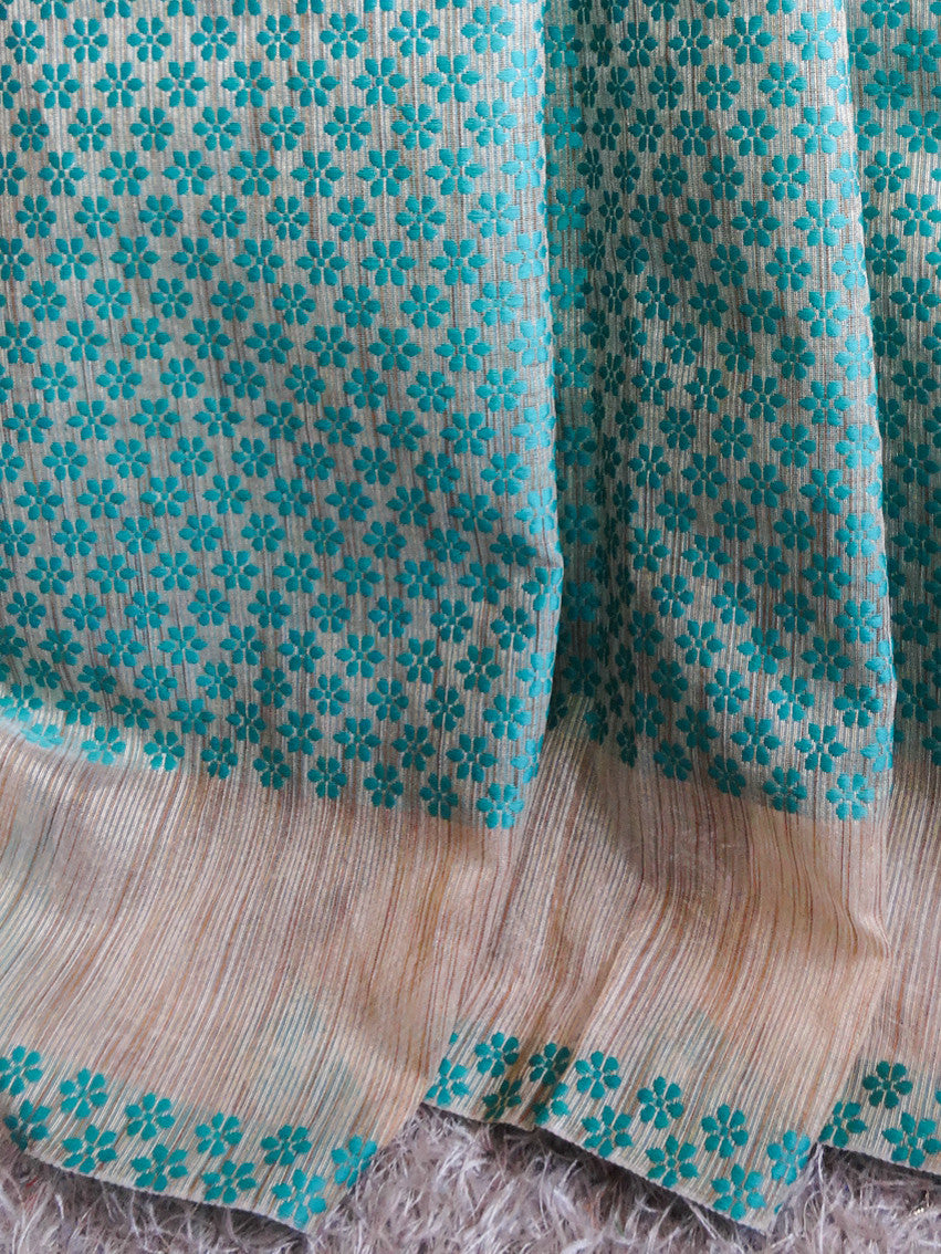 Banarasee/Banarasee Silk Cotton Saree Khichha Border With Green Flower Buti Design-Beige