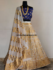 Banarasee/Banarasi Handwoven Semi Silk Unstitched Lehenga & Blouse Fabric With Dupatta-Off White