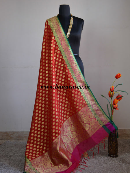 Banarasee Art Silk Heavy Woven Dupatta With Floral Satin Border-Red
