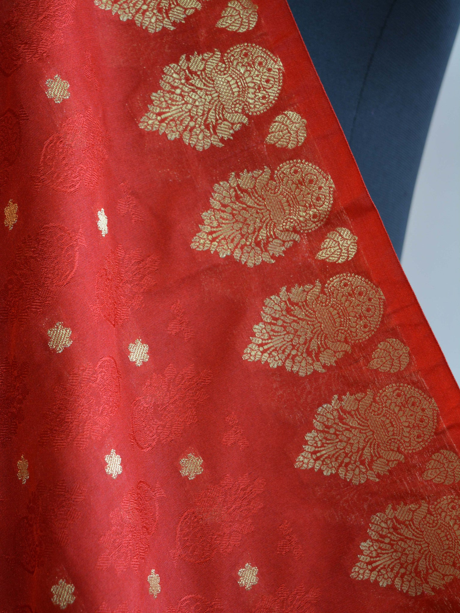Art Silk Dupatta Vase Design on Border-Red