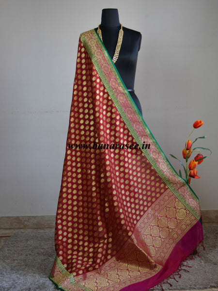 Banarasee Art Silk Heavy Woven Dupatta With Floral Satin Border-Deep Red