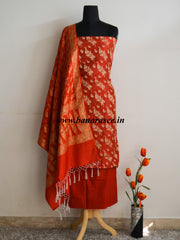 Banarasee/Banarasi Salwar Kameez Cotton Silk Gold Zari Buti Woven Fabric-Red