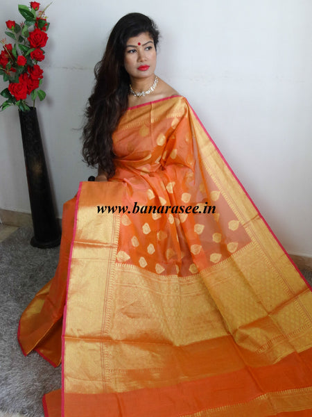 Banarasee Cotton Silk Saree With Zari Border & Buta-Orange